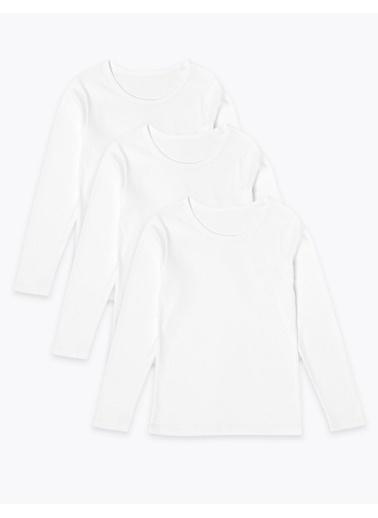 Marks & Spencer 3'lü Saf Pamuklu Uzun Kollu Atlet Seti Beyaz